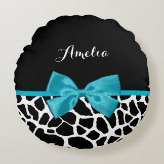Chic Giraffe Print Aqua Blue Ribbon Bow With Name Round Pillow