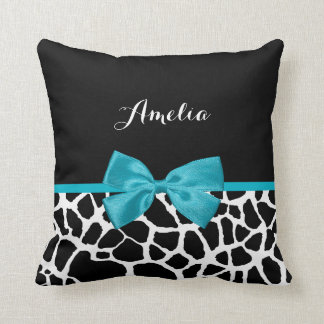 Chic Giraffe Print Aqua Blue Ribbon Bow With Name Throw Pillow