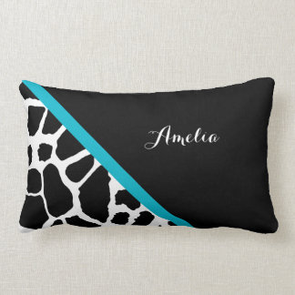 Chic Giraffe Print Aqua Blue Stripe With Name Lumbar Pillow