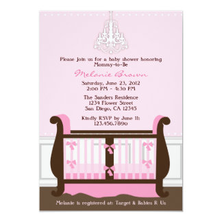 "Chic Girl Pink Nursery Decor Baby Shower Invite 5"" X 7"" Invitation Card"