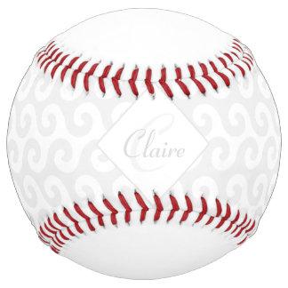 Chic Girl's Monogram, Silver & White Waves Pattern Softball