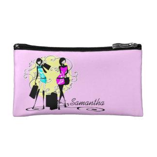 Chic girls glamour shopping pink makeup bag