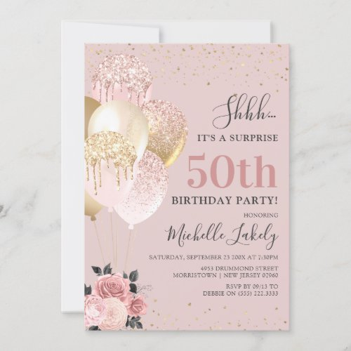 Chic Girly 50th Surprise Birthday Party Invitation