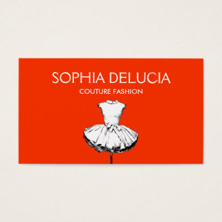 Chic Girly Dress Red Fashion Boutique Business Card