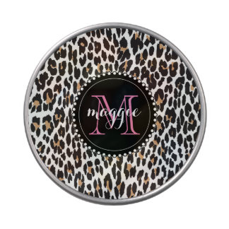Chic Girly Faux Leopard Print Monogram pattern Jelly Belly Tin