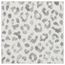 Chic girly glitter silver cheetah print pattern fabric