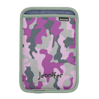Chic Girly Pink Camo Camouflage Name Personalized iPad Mini Sleeves