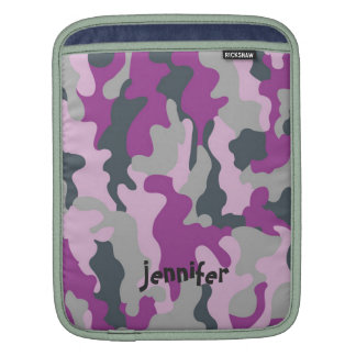 Chic Girly Pink Camo Camouflage Name Personalized iPad Sleeve