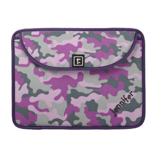 Chic Girly Pink Camo Camouflage Name Personalized MacBook Pro Sleeve