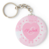 Chic Girly Pink Heart Monogram Initial Letter Keychain