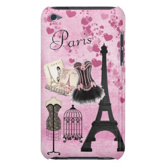 Chic Girly Pink Paris Fashion Barely There iPod Case