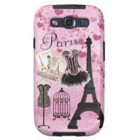 Chic Girly Pink Paris Fashion Samsung Galaxy SIII Cover