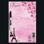 """Chic Girly Pink Paris Fashion Dry Erase Board<br><div class=""""desc"""">Whimsical, romantic, classy pink Paris dry erase board with the Eiffel Tower, French magazines, beautiful pink and black corset, dressmaker&#39;s mannequin, antique bird cage and hearts on a shabby chic pink vintage look background. An elegant, fun, trendy, glamorous gift for women and teenage girls. Some elements purchased from Suz Brill...</div>"""