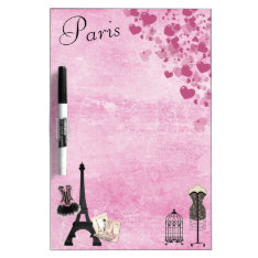 Chic Girly Pink Paris Fashion Dry Erase Board at Zazzle