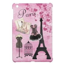 Chic Girly Pink Paris Fashion iPad Mini Cases