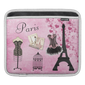 Chic Girly Pink Paris Fashion iPad Sleeve