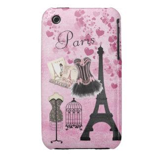Chic Girly Pink Paris Fashion iPhone 3 Case-Mate Case