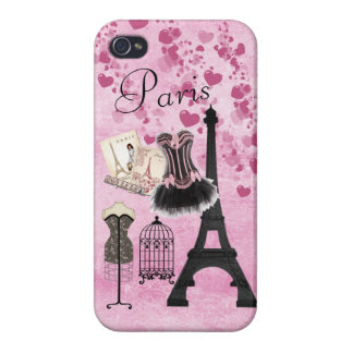 Chic Girly Pink Paris Fashion iPhone 4 Case