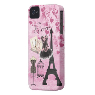 Chic Girly Pink Paris Fashion iPhone 4 Cases