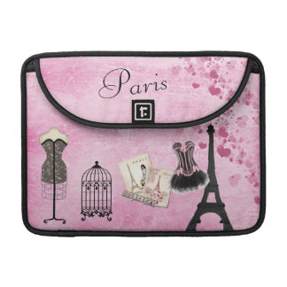 Chic Girly Pink Paris Fashion MacBook Sleeve