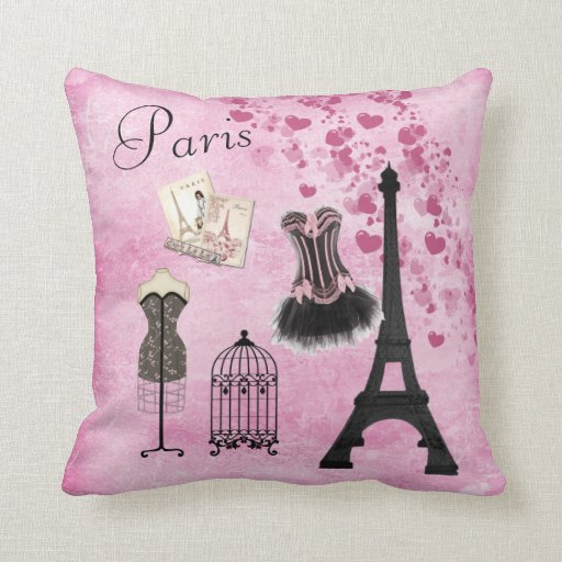 Chic Girly Pink Paris Fashion Pillow