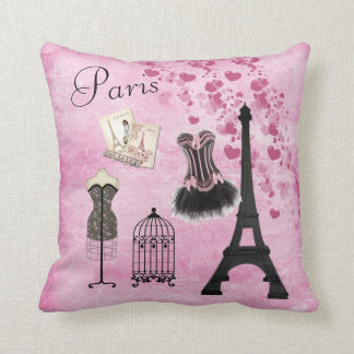 Chic Girly Pink Paris Fashion Throw Pillow