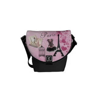Chic Girly Pink Paris Vintage Romance Courier Bag