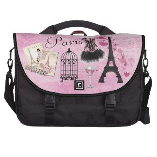 Chic Girly Pink Paris Vintage Romance Laptop Bag