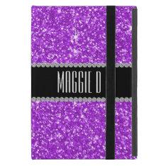 Chic Girly Purple Glitter Monogrammed iPad Mini Case at Zazzle