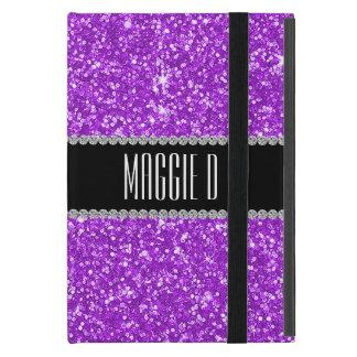 Chic Girly Purple Glitter Monogrammed iPad Mini Case