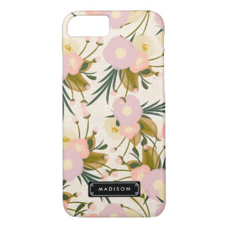 Chic Girly Retro Floral Lilac & Peach Personalized iPhone 8/7 Case