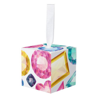 Chic Girly Shiny Diamond Gemstones Cube Ornament