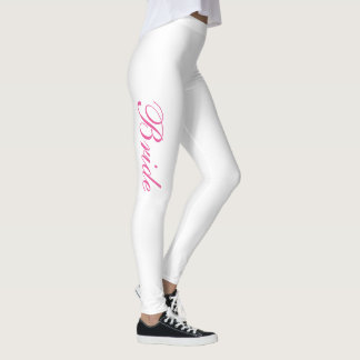 Chic Girly Simple Pink Script White Bride Leggings