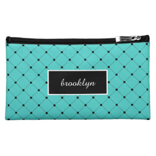 Chic Girly Turquoise And Black Polka Dots Makeup Bag at Zazzle