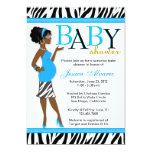 Chic Glam Modern Mom Blue Zebra Baby Shower 5x7 Paper Invitation Card
