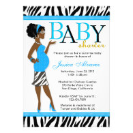 Chic Glam Modern Mom Blue Zebra Baby Shower Custom Invitations