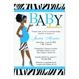 "Chic Glam Modern Mom Blue Zebra Baby Shower 5"" X 7"" Invitation Card"