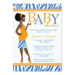 Chic Glam Modern Mom Blue Zebra Baby Shower Custom Invitations