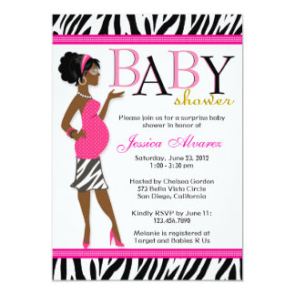 Chic Glam Modern Mom Pink Zebra Baby Shower Card
