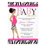 Chic Glam Modern Mom Pink Zebra Baby Shower Personalized Invitation