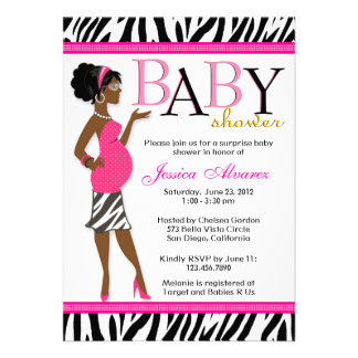 Chic Glam Modern Mom Pink Zebra Baby Shower Invitations