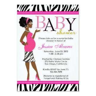 "Chic Glam Modern Mom Pink Zebra Baby Shower 5"" X 7"" Invitation Card"