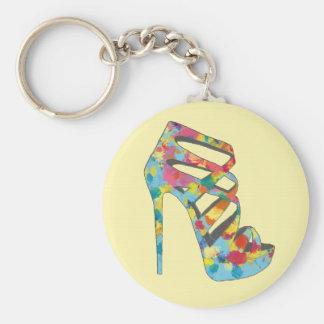Chic Glam Vintage Roses Aqua High Heel Shoe Keychain