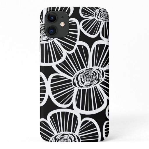 Chic Glamour Black and White Flower iPhone 11 Case