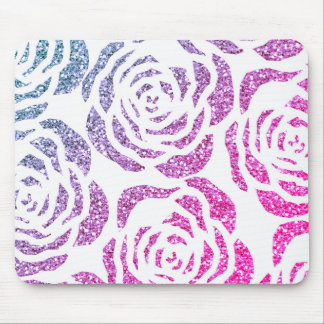 Chic Glitter Effect Purple Roses White Mousepad