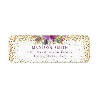Chic Glitter Watercolor Flowers Gold Confetti Label