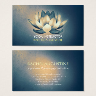 Chic Glowing Lotus & Blue Grunge Yoga Instructor Business Card