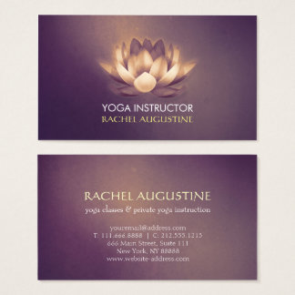 Chic Glowing Lotus & Purple Grunge Yoga Instructor Business Card