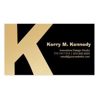Chic Gold and Black Big Monogram Custom K Double-Sided Standard Business Cards (Pack Of 100)