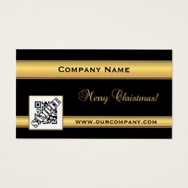 Professional Business Chic Gold and Black Christmas Business Card